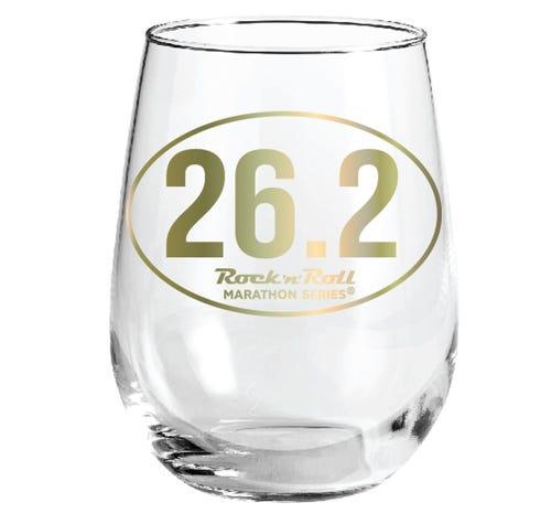 ROCK N ROLL MARATHON SERIES 26.2 WINE GLASS GOLD