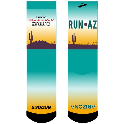 ROCK N ROLL MARATHON SERIES ARIZONA 2019 SUBLIMATED EVENT SOCKS - WHITE