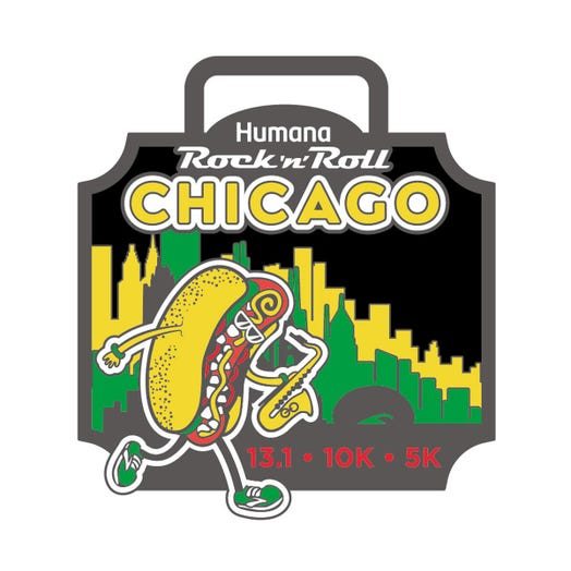 ROCK N ROLL MARATHON SERIES CHICAGO EVENT MINI MEDAL PIN