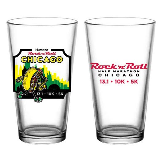 ROCK N ROLL MARATHON SERIES CHICAGO EVENT PINT GLASS