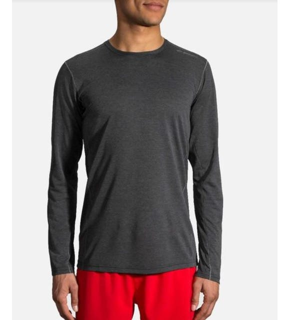 Brooks Running Men's Ghost Long Sleeve Top Heather Asphalt