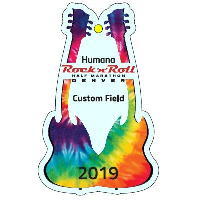 Rock 'n' Roll Marathon Series Tie Dye Personalized Event Year Guitar Keepsake