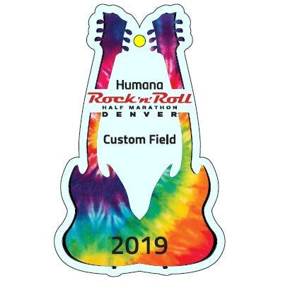 Rock 'n' Roll Marathon Series Tie Dye Personalized Event Year Guitar Keepsake