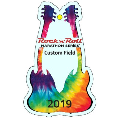 Rock 'n' Roll Marathon Series Tie Dye Personalized Year Guitar Keepsake