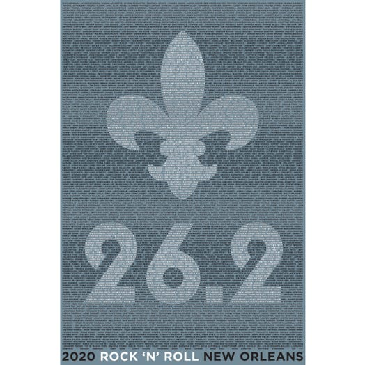 ROCK N ROLL MARATHON SERIES NEW ORLEANS 2020 MEN'S 26.2K NAME TEE