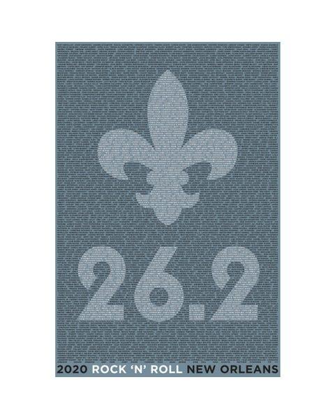 ROCK N ROLL MARATHON SERIES NEW ORLEANS 2020 MEN'S 26.2K NAME TEE