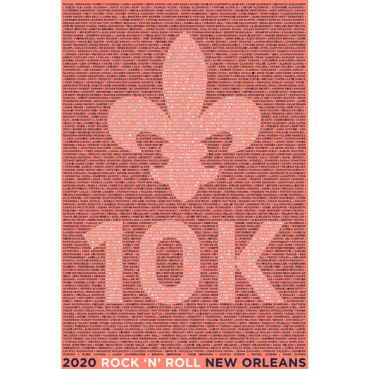 ROCK N ROLL MARATHON SERIES NEW ORLEANS 2020 WOMEN'S 10K NAME TEE