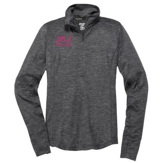 ROCK N ROLL MARATHON SERIES 26.2 SCRIPT HALF ZIP HEATHER ASPHALT LADIES
