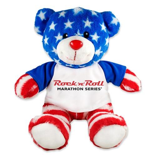 ROCK N ROLL MARATHON SERIES BEAR RED, WHITE, & BLUE PLUSH