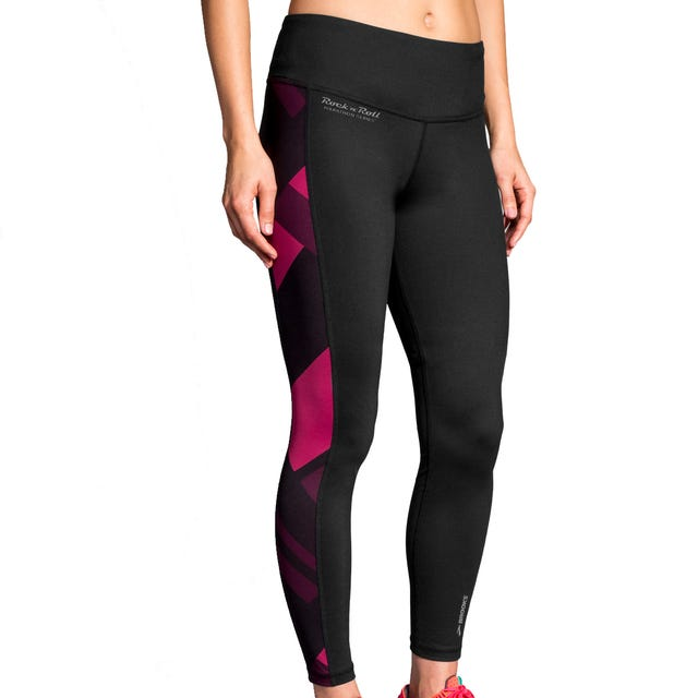 ROCK N ROLL MARATHON SERIES GREENLIGHT TIGHT BLACK/PLUM ECLI Ladies