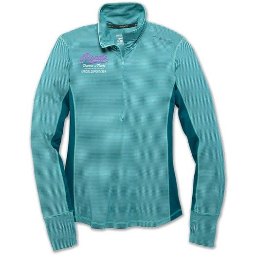 ROCK N ROLL MARATHON SERIES SUPPORT ROADIE HALF ZIP LADIES Pool/Ocean Stripe