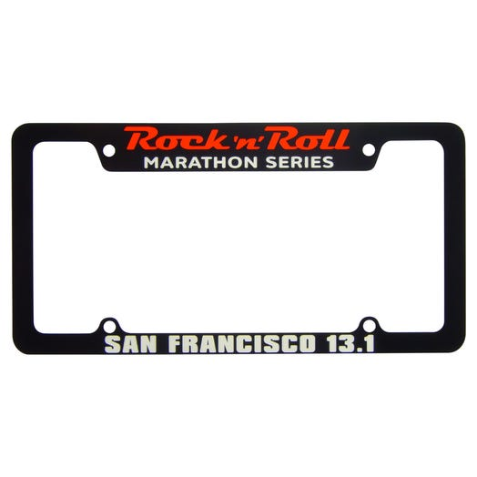 Rock 'n' Roll Marathon Series Personalized License Plate Frame - Black