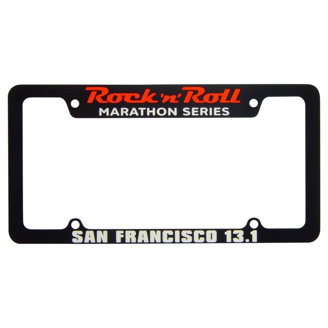 Rock 'n' Roll Marathon Series Personalized License Plate Frame - Black