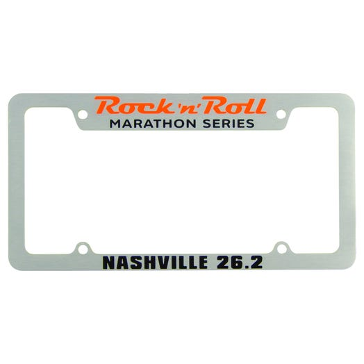 Rock 'n' Roll Marathon Series Personalized License Plate Frame - Silver