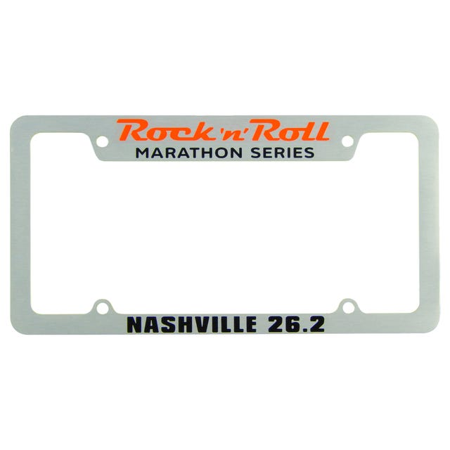 Rock 'n' Roll Marathon Series Personalized License Plate Frame - Silver - Aircraft Grade Aluminum