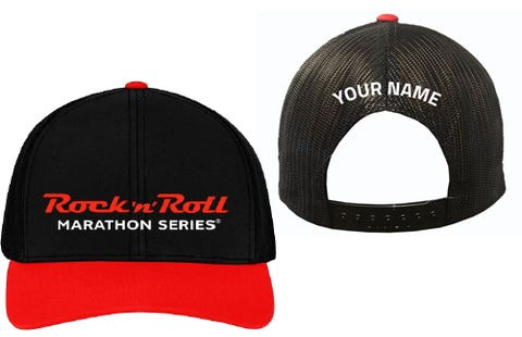 Rock 'n' Roll Marathon Series Personalized Trucker Hat - Black/Red