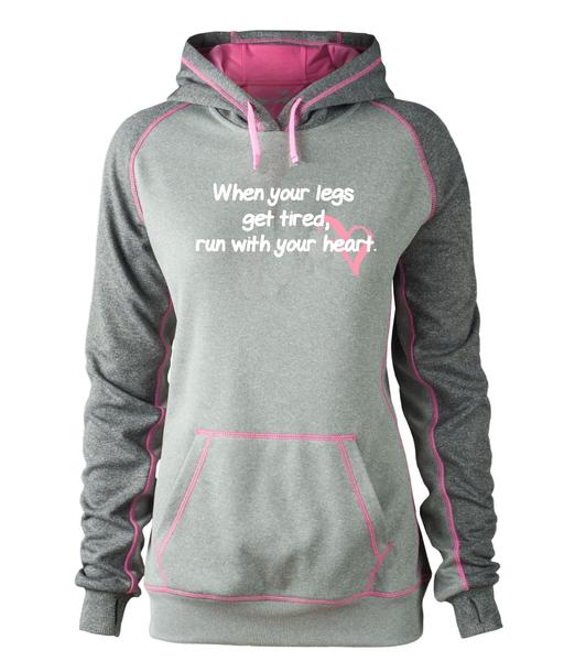 ROCK N ROLL MARATHON SERIES LEGS N HEART HOODIE PINK/GREY LADIES