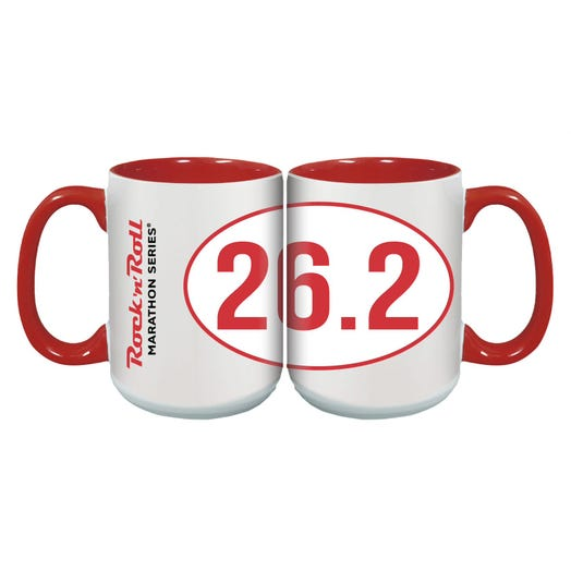 ROCK N ROLL MARATHON SERIES STICKER MUG 26.2 RED