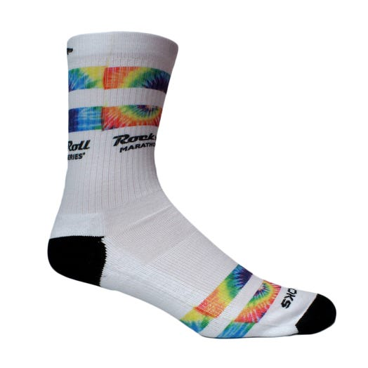 ROCK N ROLL MARATHON SERIES TIE DYE SOCK White