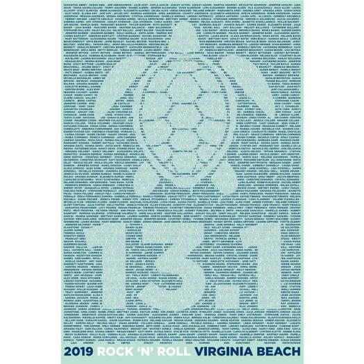 ROCK N ROLL MARATHON SERIES VIRGINIA BEACH 2019 WOMEN'S 13.1K A-K NAME TEE