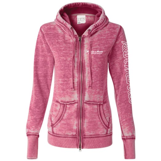 ROCK N ROLL MARATHON SERIES WOMEN'S FULL ZIP RUN HOODIE - BERRY