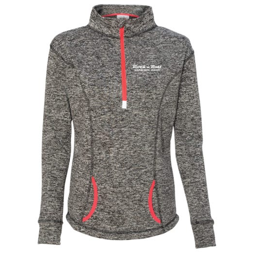 ROCK N ROLL MARATHON SERIES WOMEN'S HALF ZIP FLEECE - CHARCOAL