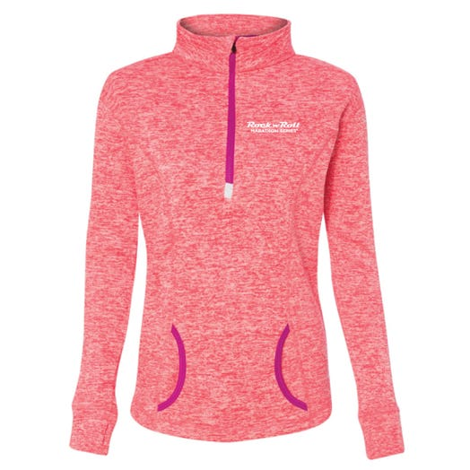 ROCK N ROLL MARATHON SERIES WOMEN'S HALF ZIP FLEECE - CORAL
