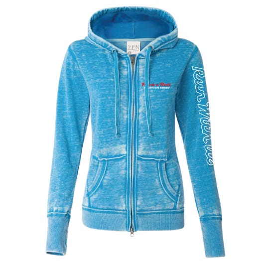 ROCK N ROLL MARATHON SERIES WOMEN'S FULL ZIP RUN HOODIE - OCEAN