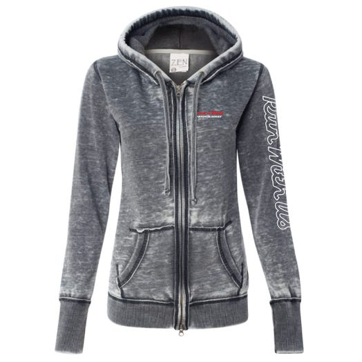 ROCK N ROLL MARATHON SERIES WOMEN'S FULL ZIP RUN HOODIE - SMOKE