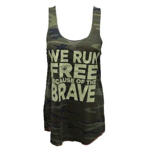 ROCK N ROLL MARATHON SERIES LADIES RUN FREE MILITARY TANK