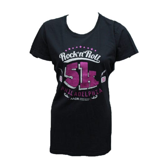 ROCK N ROLL MARATHON SERIES LADIES L PH W TRANSDRY COTTON SHORT SLEEVE - ASPHALT